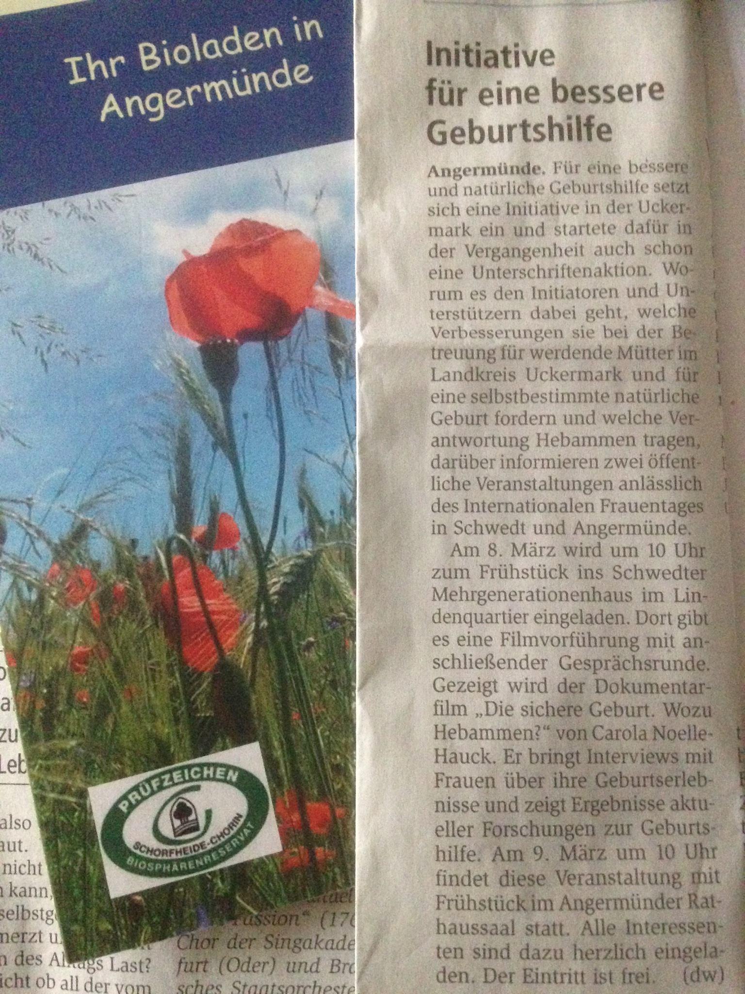 Ankündigung in der Märkischen Oderzeitung